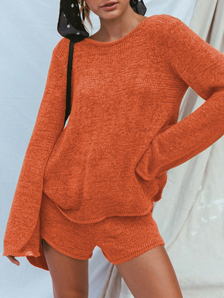 Yoins Backless Design Crew Neck Long Sleeves Two Piece Outfit