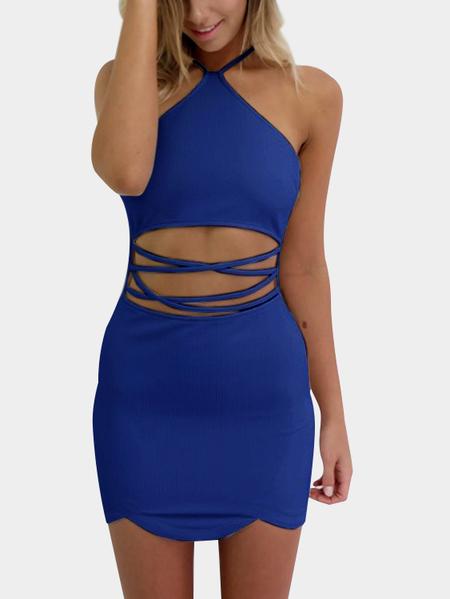 Yoins Blue Sexy Halter Neck & Cutout Waist Mini Dress