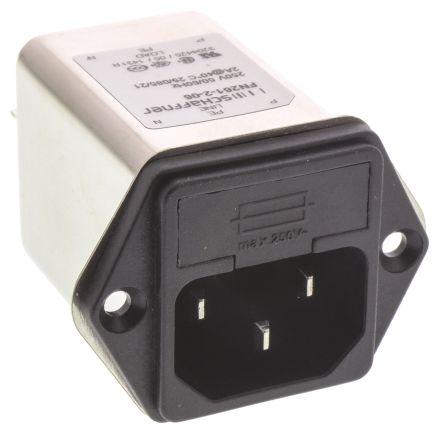 Schaffner ,2A,250 V ac Male Panel Mount IEC Filter FN261-2-06,Faston 1 Fuse