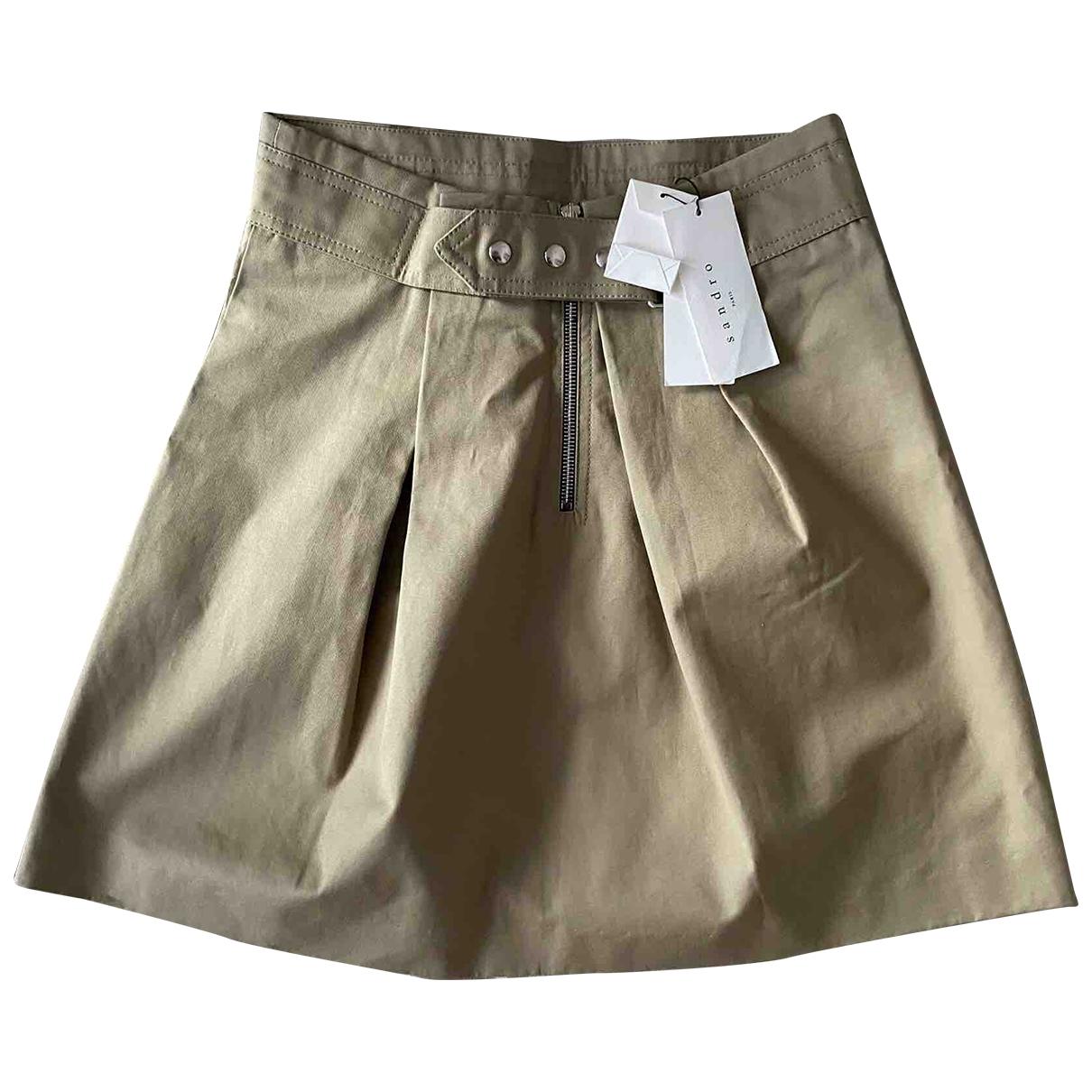 Sandro \N Beige Cotton skirt for Women 1 0-5