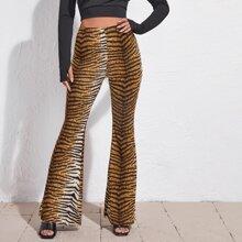 High Waist Tiger Striped Flare Leg Pants