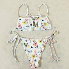 Floral Rib Tie Side Bikini Swimsuit