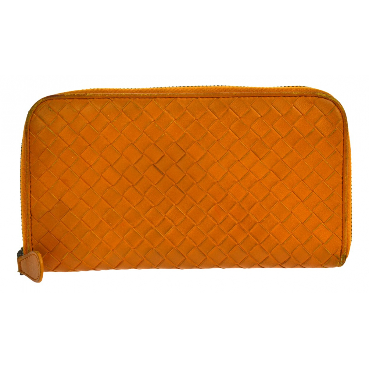 Bottega Veneta - Portefeuille Intrecciato pour femme en cuir - orange