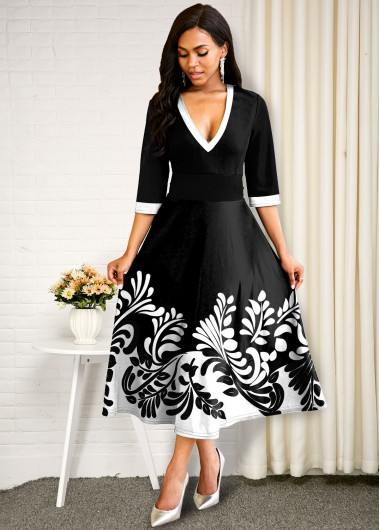 Black Dresses Contrast Plunging Neck Plant Print Dress - M