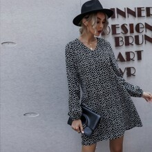 Kleid mit Laternenaermeln und Bluemchen Muster