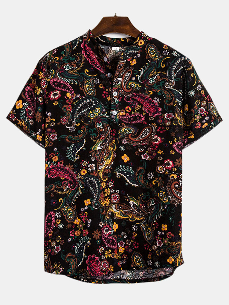Mens Cotton Ethnic Floral Casual Short Sleeve Henley Shirt