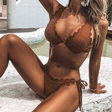 Bañador bikini con cordon lateral con aro brillante