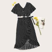 V-neck Swiss Dot Top & Wrap Skirt