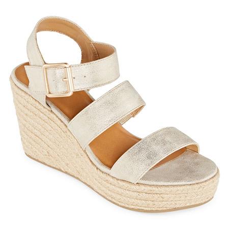 a.n.a Womens Jensen Wedge Sandals, 11 Medium, Yellow