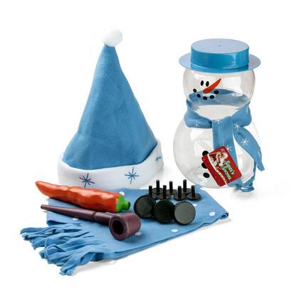 Kit de Décoration de Bonhomme de Neige de Noël dans Récipient Plastique 14Pcs/Pack - Bleu