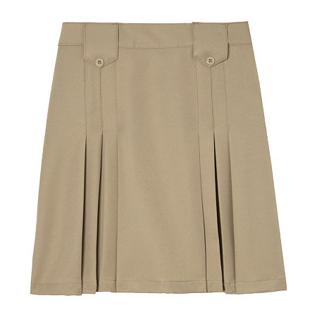 French Toast Little & Big Girls Pleated Skirt, 7 , Beige