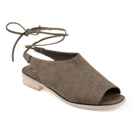 Journee Collection Womens Blanch Open Toe Slip-On Shoe, 6 Medium, Gray