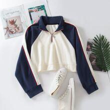 Crop Sweatshirt mit Farbblock und halber Reissverschlussleiste