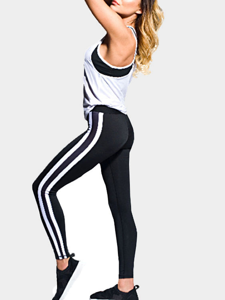 Yoins Casual Bodycon Elastic Waist Stripe Jogging Pants in Black