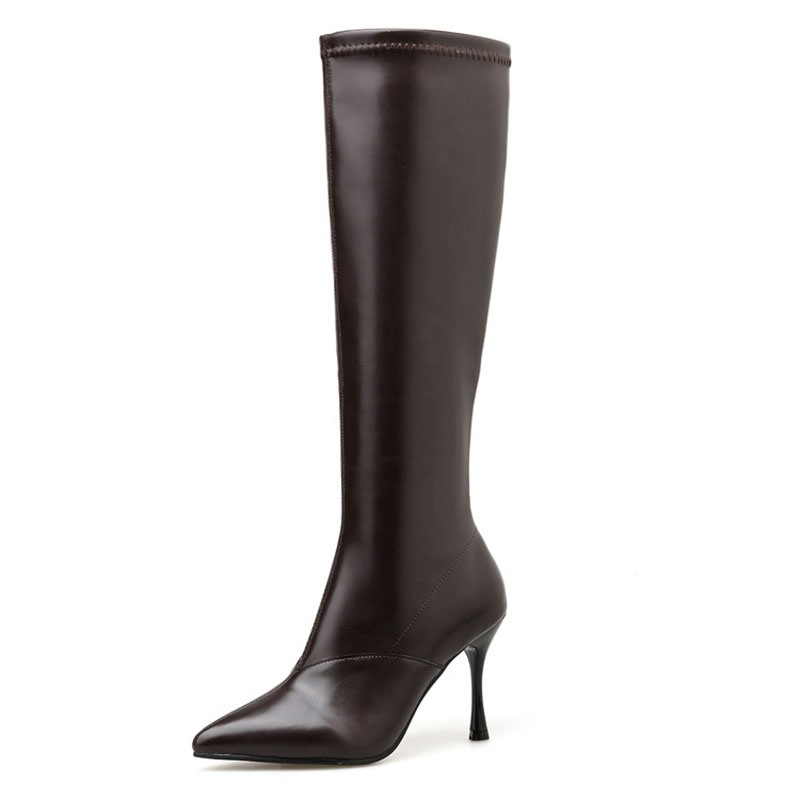 Ericdress Pointed Toe Stiletto Heel Side Zipper Knee High Boots
