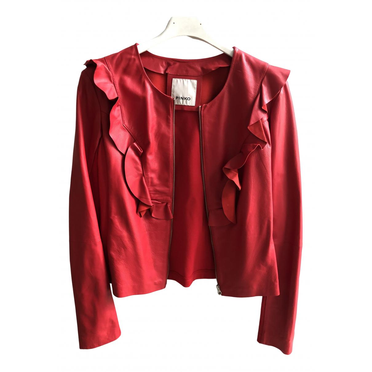 Pinko - Blouson   pour femme en cuir - rouge
