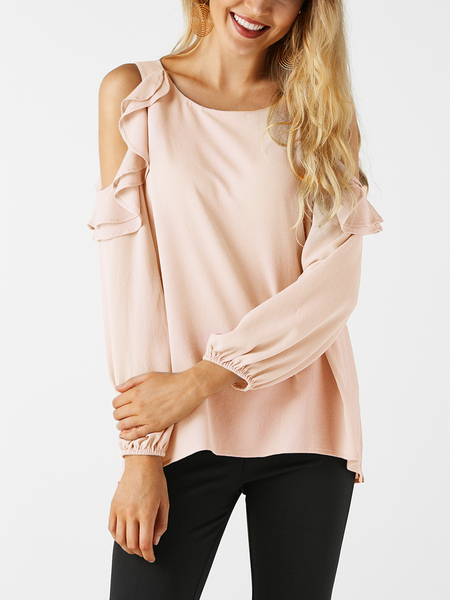 Yoins Pink Cold Shoulder Design Crew Neck Flounced Tiered Details Long Sleeves  T-shirts
