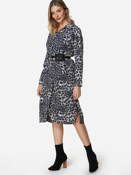 Yoins Black Leopard Printed Work Dress No Belt