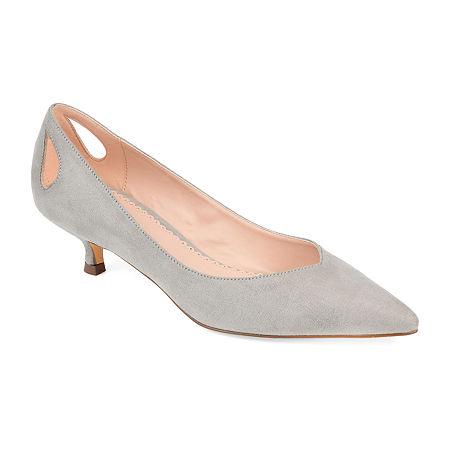 Journee Collection Womens Goldie Pointed Toe Kitten Heel Pumps, 8 1/2 Medium, Gray