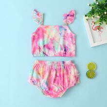 Baby Girl Tie Dye Ruffle Cami Top With Shorts
