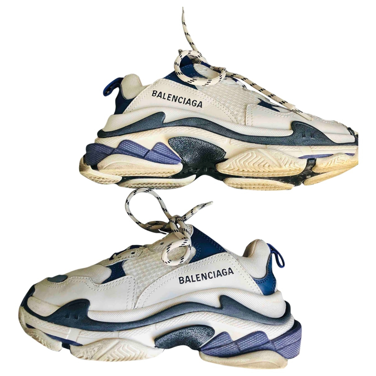 Balenciaga Triple S Sneakers in  Weiss Leinen