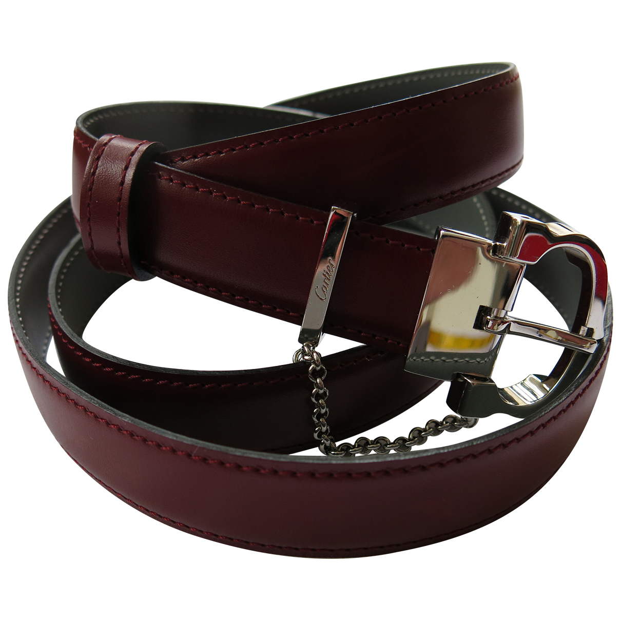 Cartier N Burgundy Leather belt for Women L International