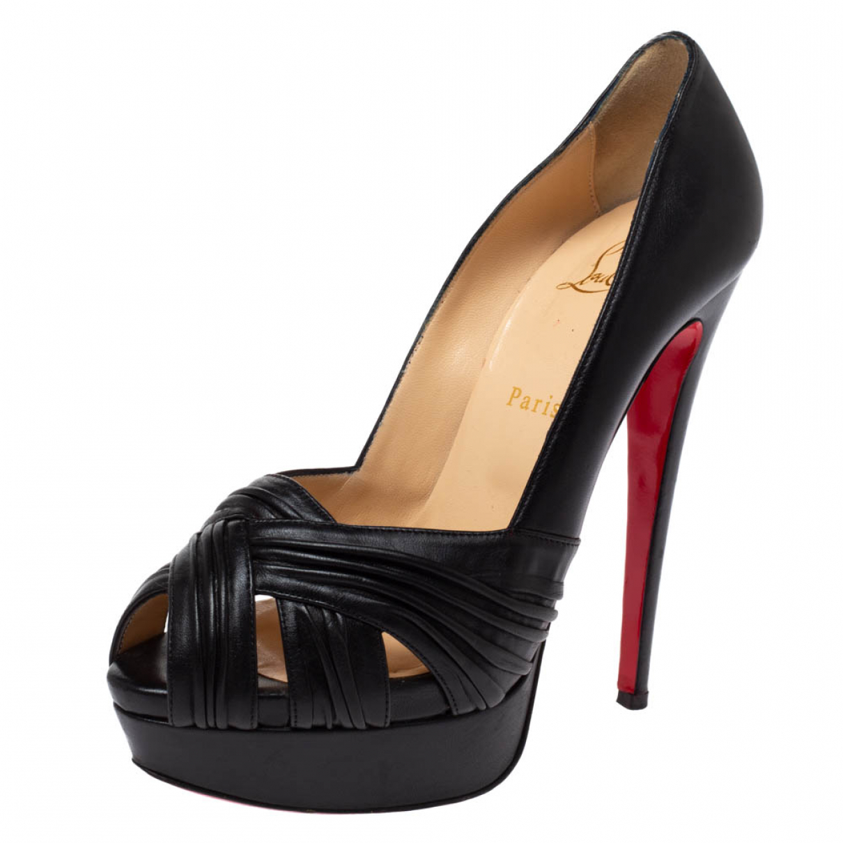Christian Louboutin N Black Leather Sandals for Women 9.5 US