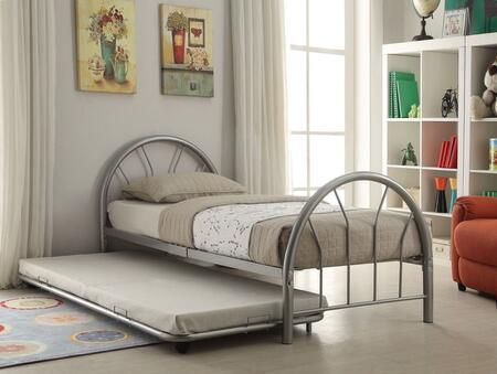 Silhouette Collection 30450TSITRN Twin Size Trunlde Bed with Fanback Design  Slat System Included  Metal Frame  Side Rails and Slats Included in