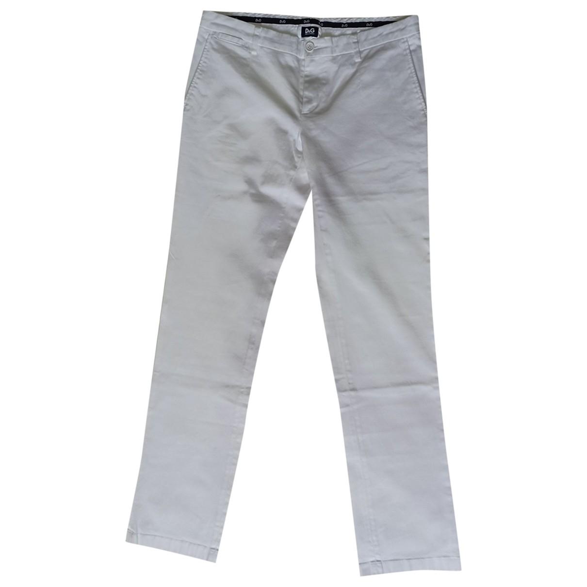 D&g \N White Cotton Trousers for Men 46 IT