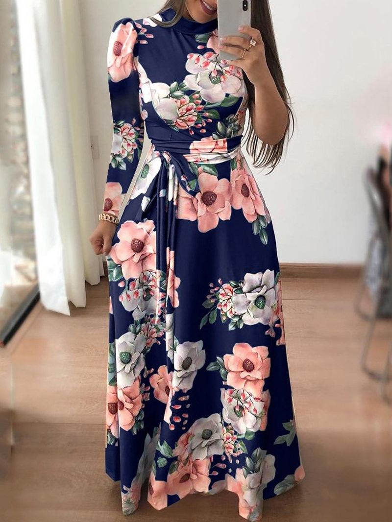 Ericdress Floor-Length Lace-Up V-Neck Spring Regular Dress