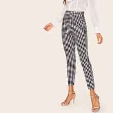 Pantalones cortos de houndstooth con bolsillo oblicuo lateral