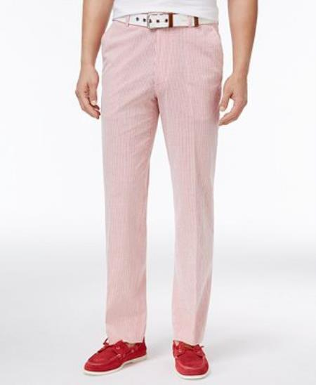 Men's Slim-Fit Stretch Performance Red/White Seersucker Suit Pants