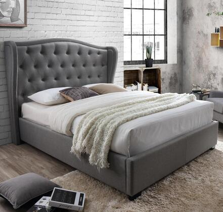 Festa Collection 2993-K-GY King Size Platform Bed with Wingback Headboard  Fabric Upholstery  Button Tufting  Block Feet  Polyester Blend Material