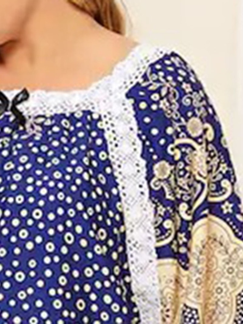 Ericdress Plus Size Print Half Sleeve Casual Round Neck Mid-Calf Dress
