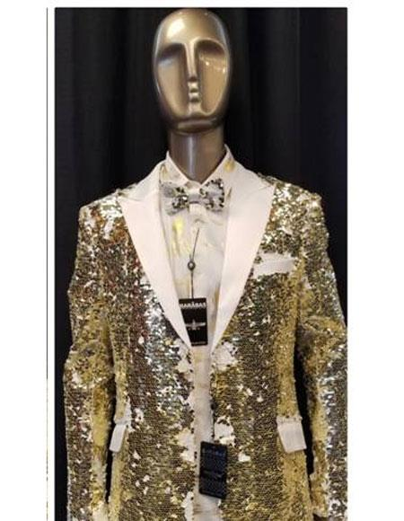 Mens White ~ Gold Sequin Paisley Blazer Sport coat Tuxedo Jacket