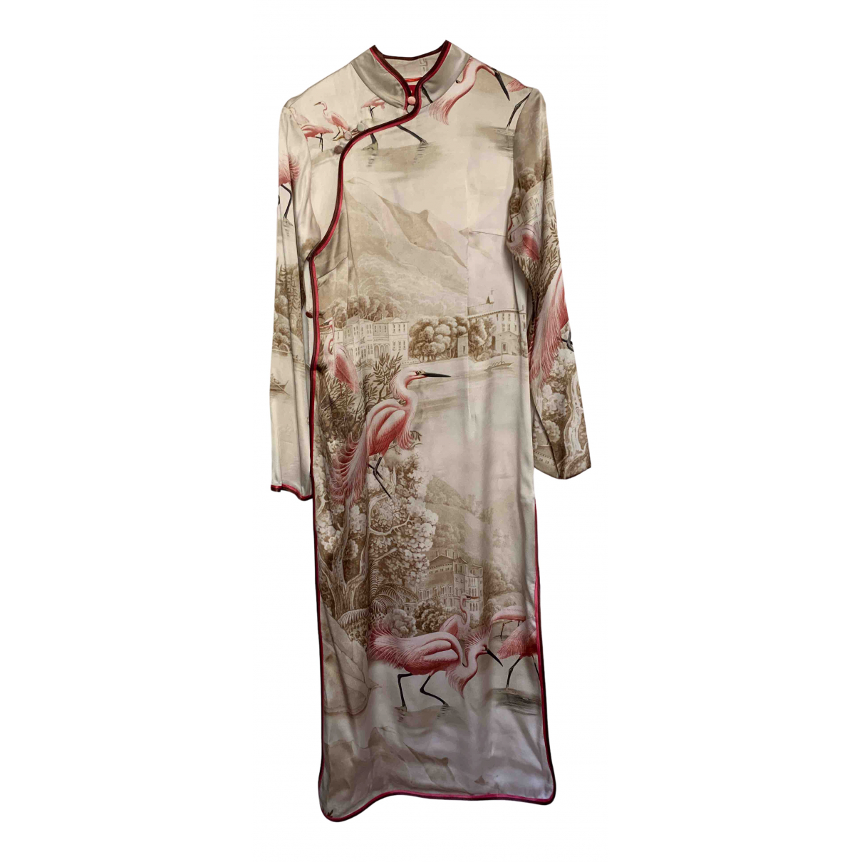 F.r.s For Restless Sleepers N Beige Silk dress for Women XS International