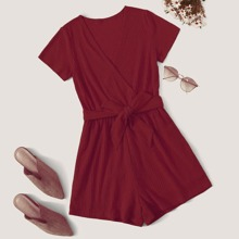 Plus Solid Rib-knit Belted Romper