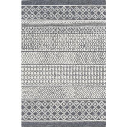 Maroc MAR-2305 10' x 14' Rectangle Global Rug in Charcoal  Teal  Medium Gray  Cream