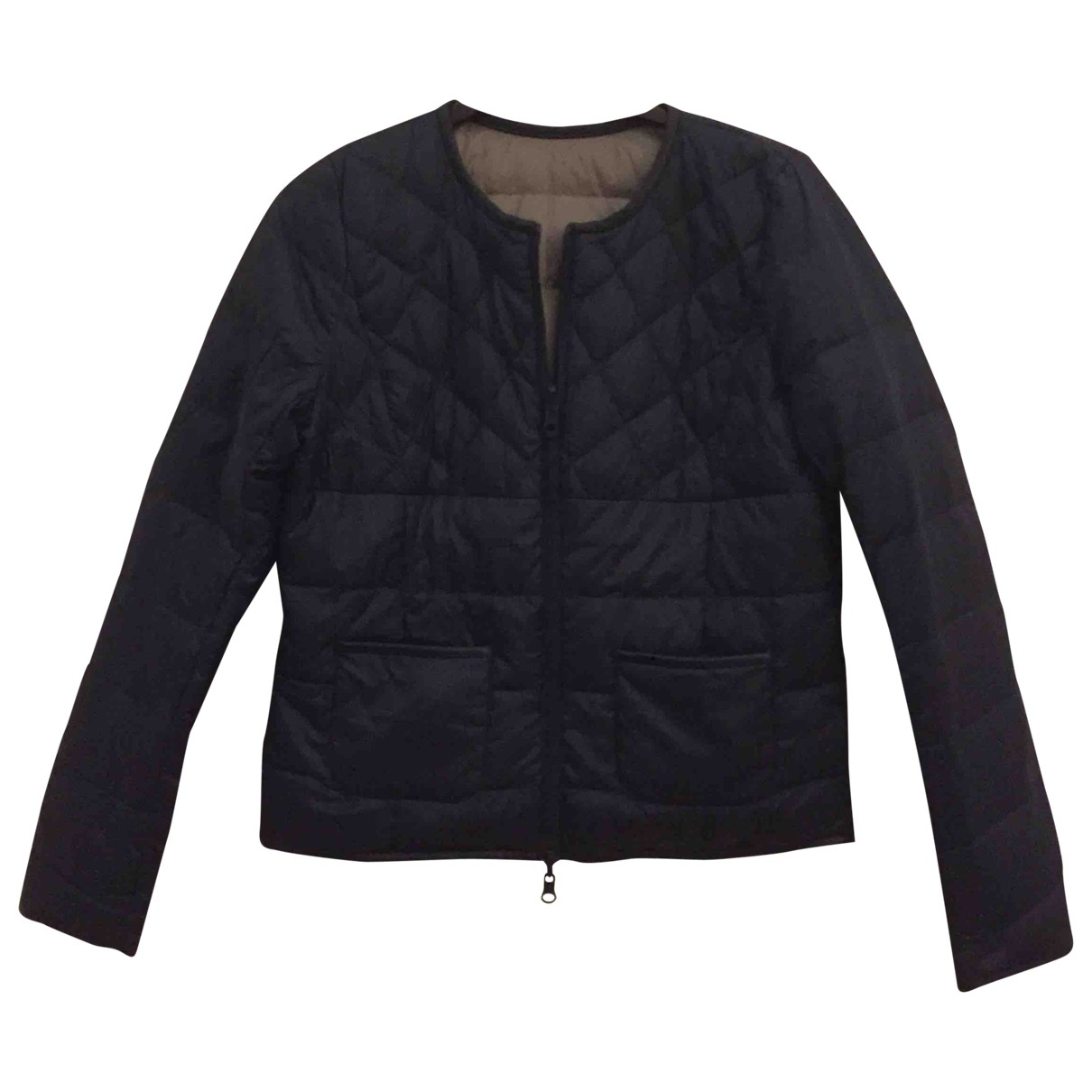 Comptoir Des Cotonniers \N Blue Leather jacket for Women 34 FR