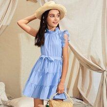 Blau  Knopfe  Einfarbig Bohmisch Maedchen Kleider