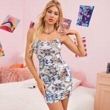 Figurbetontes rueckenfreies Kleid mit Band und Grafik Muster