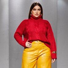 Pullover mit Zopfmuster und Rollkragen