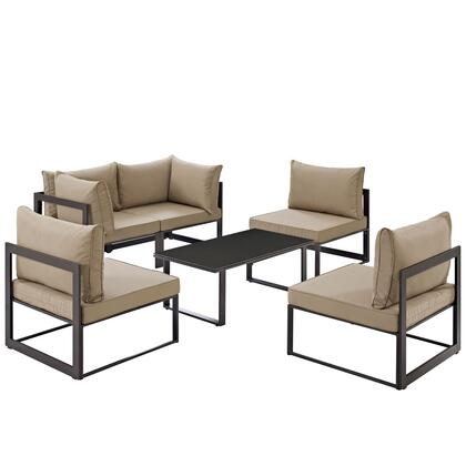Fortuna Collection EEI-1726-BRN-MOC-SET 6 PC Patio Sectional Set with All-Weather Polyester Cushions  Tempered Glass Top Coffee Table and Powder
