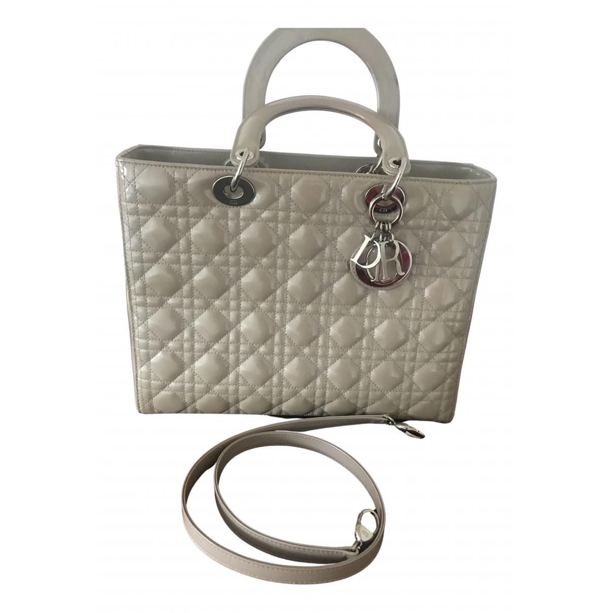 Dior Lady Dior Grey Patent leather handbag for Women N