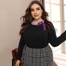 Pullover mit Kontrast am Saum und Schleife vorn