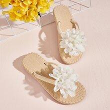 Chancletas con diseño de flor 3D de suela con diseño tejido