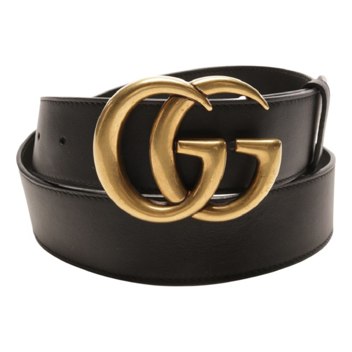 Gucci GG Buckle Black Leather belt for Women 85 cm