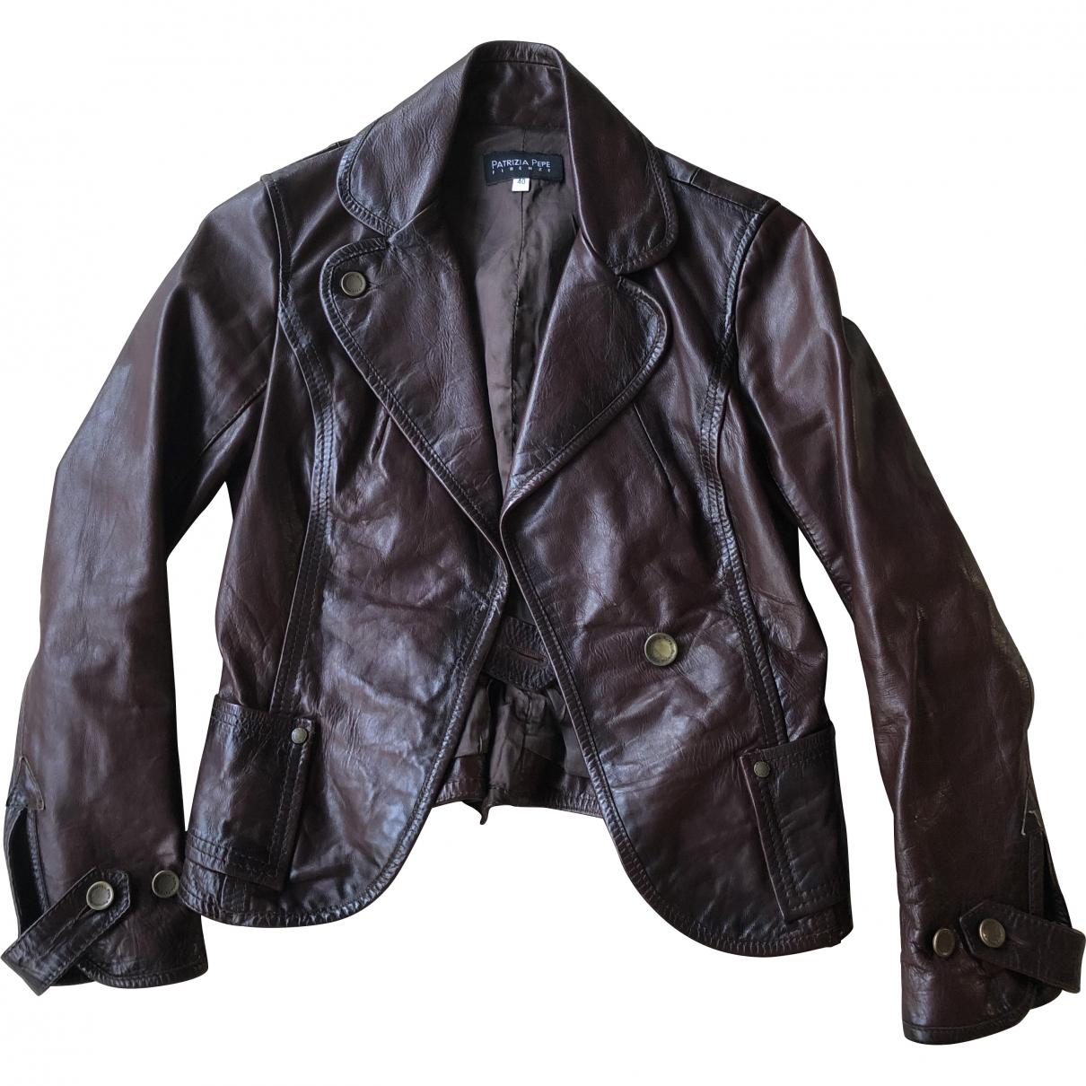 Patrizia Pepe \N Burgundy Leather jacket for Women 36 FR