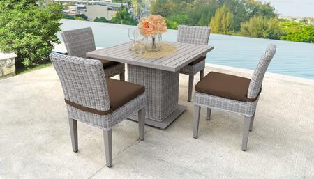 Coast Collection COAST-SQUARE-KIT-4ADCC-COCOA Patio Dining Set with 1 Table   4 Side Chairs - Beige and Cocoa