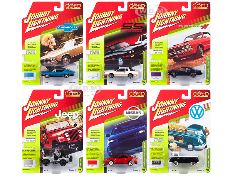 Classic Gold 2018 Release 1 Set B of 6 1/64 Diecast Model Cars by Johnny Lightning